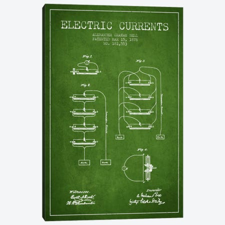 Electric Currents Green Patent Blueprint Canvas Print #ADP462} by Aged Pixel Art Print
