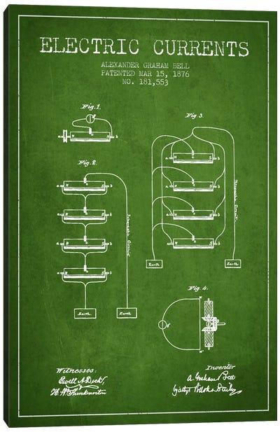 Electric Currents Green Patent Blueprint Canvas Print #ADP462