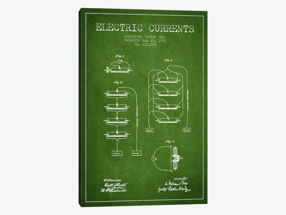 Electric Currents Green Patent Blueprint by Aged Pixel 1-piece Canvas Wall Art