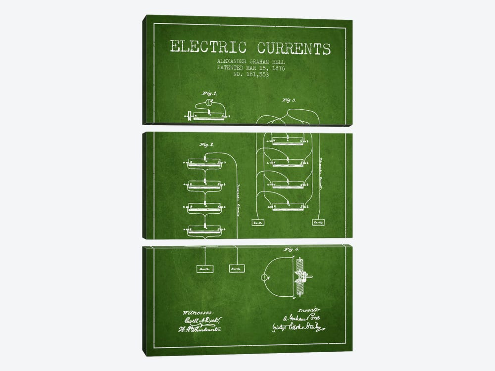 Electric Currents Green Patent Blueprint by Aged Pixel 3-piece Canvas Wall Art