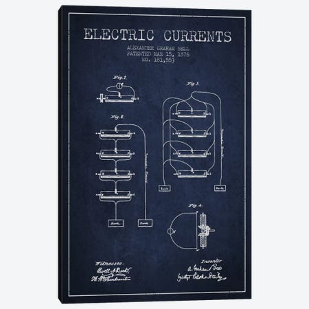Electric Currents Navy Blue Patent Blueprint Canvas Print #ADP463} by Aged Pixel Art Print