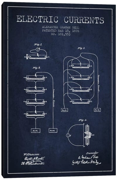 Electric Currents Navy Blue Patent Blueprint Canvas Art Print