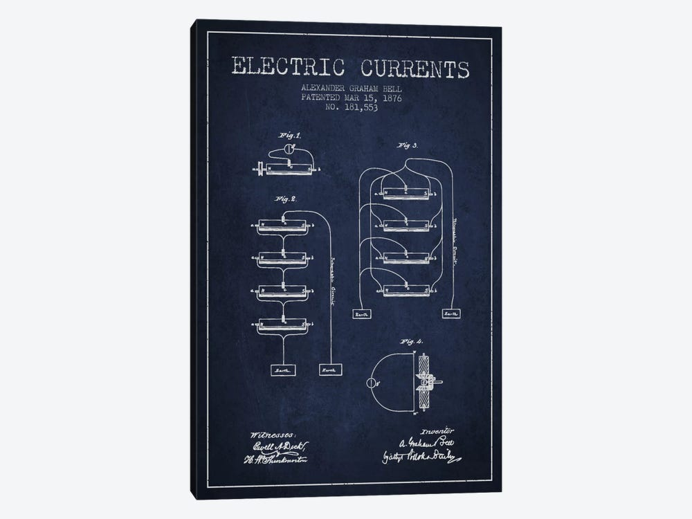 Electric Currents Navy Blue Patent Blueprint by Aged Pixel 1-piece Canvas Art Print