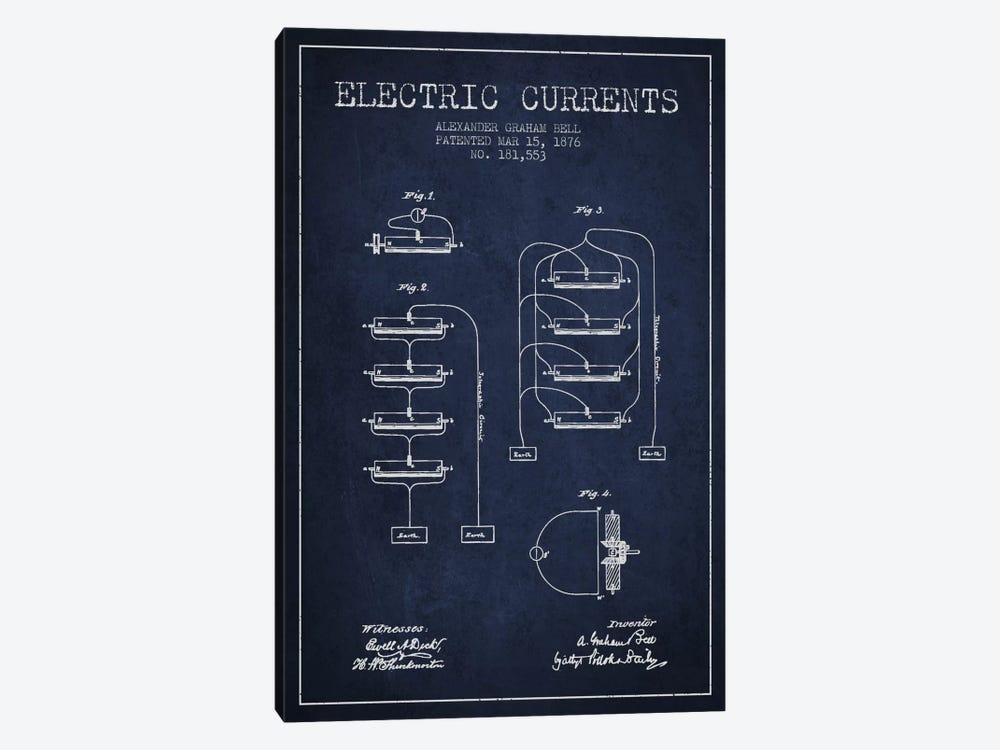 Electric Currents Navy Blue Patent Blueprint by Aged Pixel 1-piece Canvas Art Print