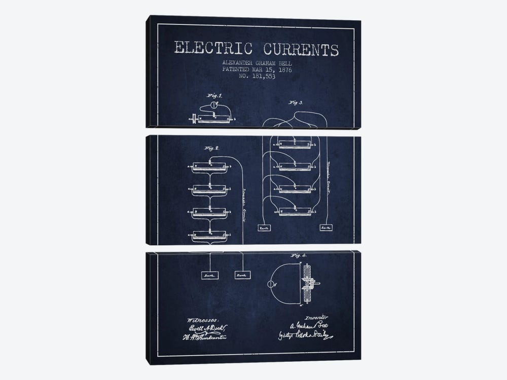 Electric Currents Navy Blue Patent Blueprint by Aged Pixel 3-piece Canvas Print