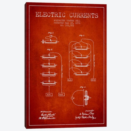 Electric Currents Red Patent Blueprint Canvas Print #ADP464} by Aged Pixel Canvas Art