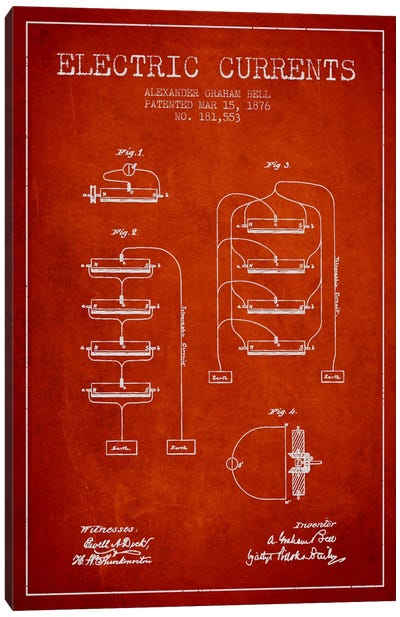 Electric Currents Red Patent Blueprint Canvas Art Print