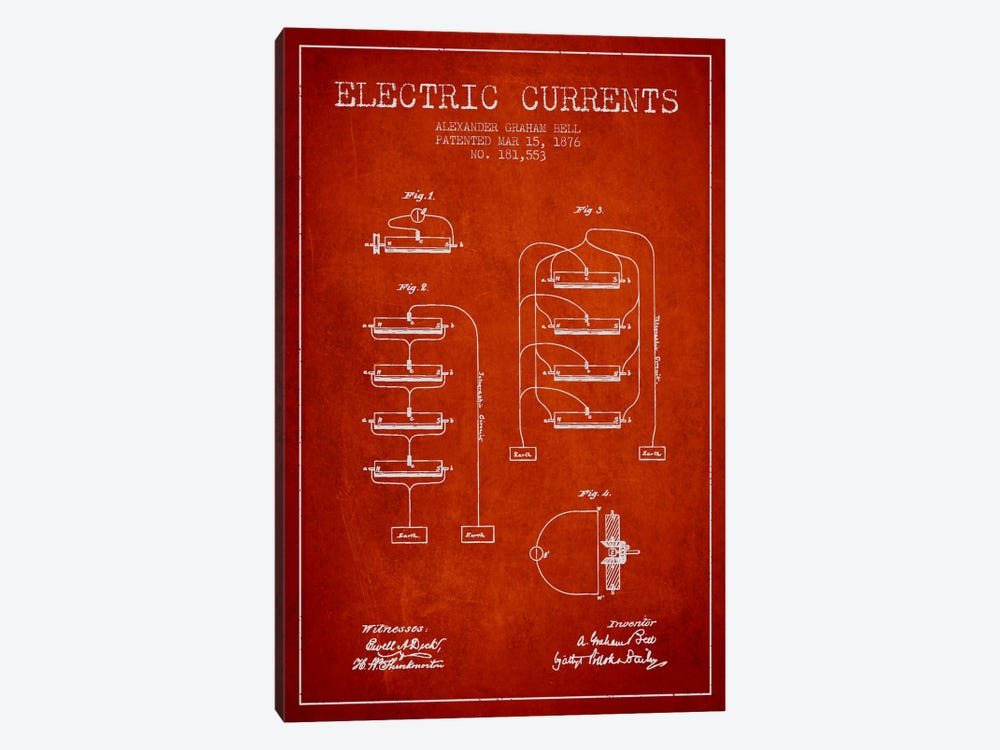 Electric Currents Red Patent Blueprint by Aged Pixel 1-piece Canvas Wall Art