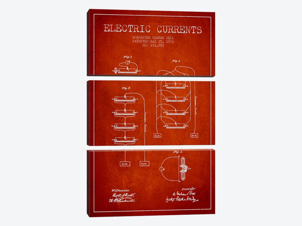 Electric Currents Red Patent Blueprint by Aged Pixel 3-piece Canvas Art