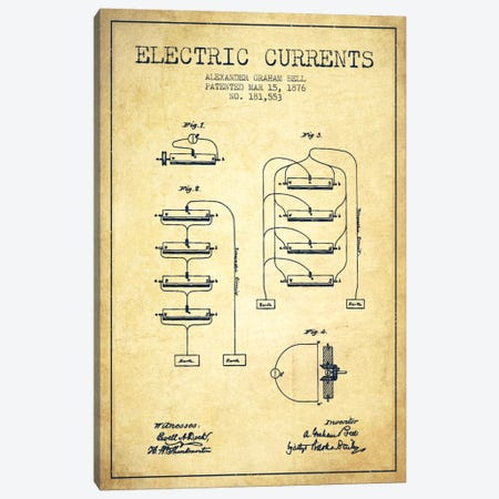 Electric Currents Vintage Patent Blueprint Canvas Print #ADP465} by Aged Pixel Canvas Artwork