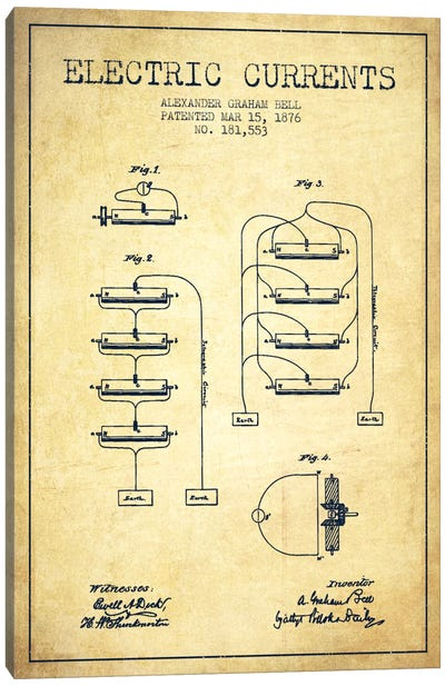 Electric Currents Vintage Patent Blueprint Canvas Art Print