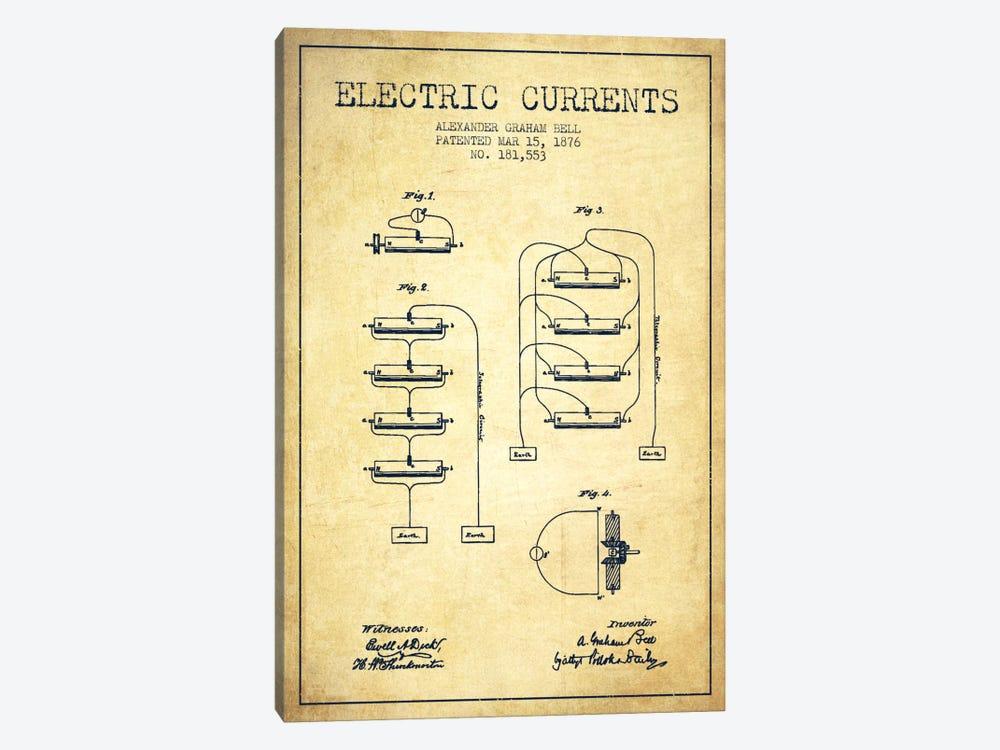 Electric Currents Vintage Patent Blueprint by Aged Pixel 1-piece Art Print