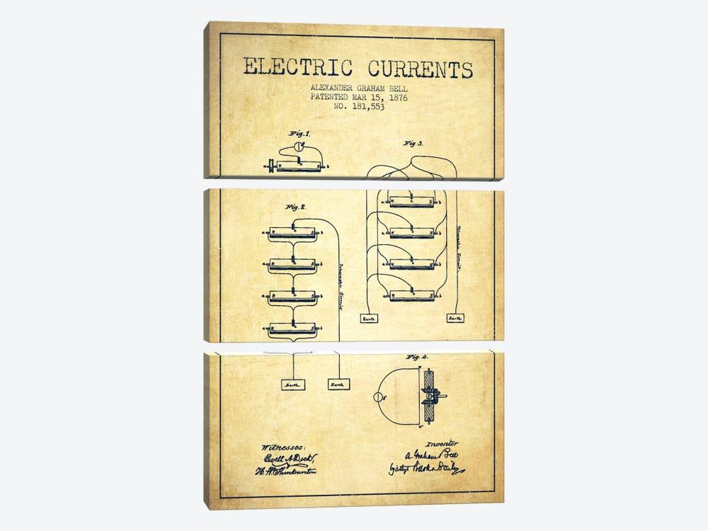 Electric Currents Vintage Patent Blueprint by Aged Pixel 3-piece Canvas Print