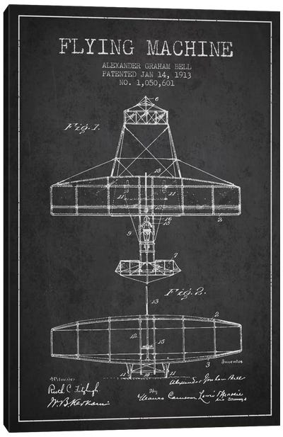 Flying Machine Charcoal Patent Blueprint Canvas Art Print