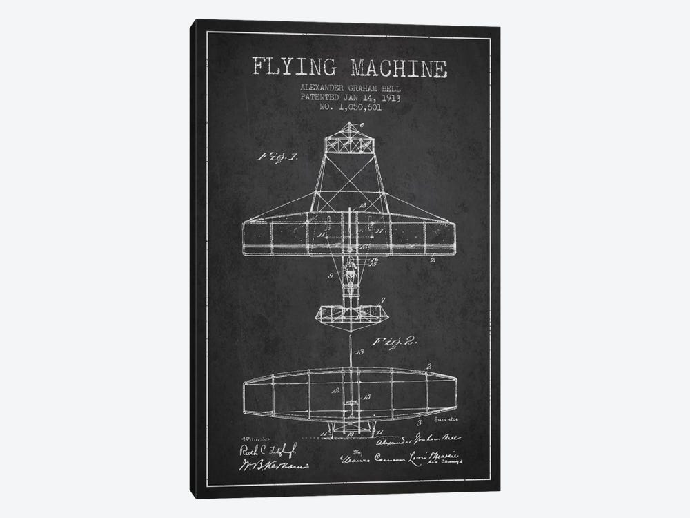 Flying Machine Charcoal Patent Blueprint by Aged Pixel 1-piece Canvas Artwork