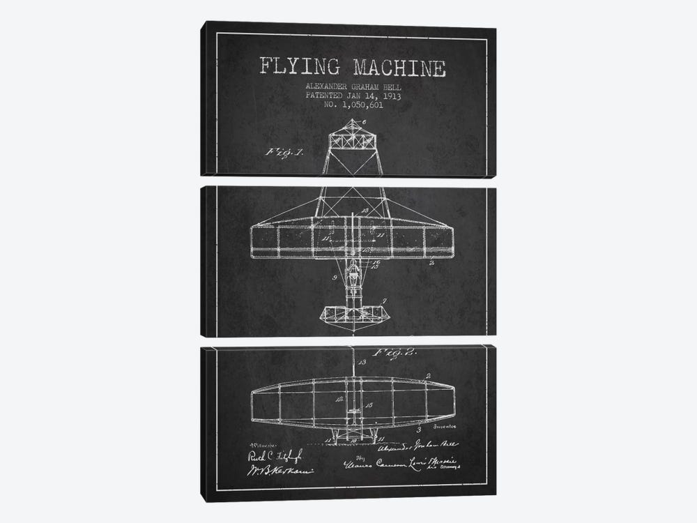 Flying Machine Charcoal Patent Blueprint by Aged Pixel 3-piece Canvas Artwork