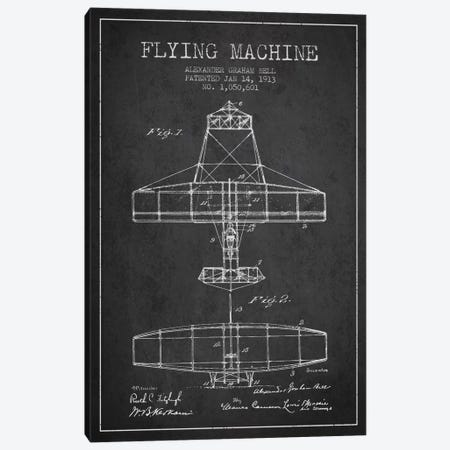 Flying Machine Charcoal Patent Blueprint Canvas Print #ADP466} by Aged Pixel Canvas Art