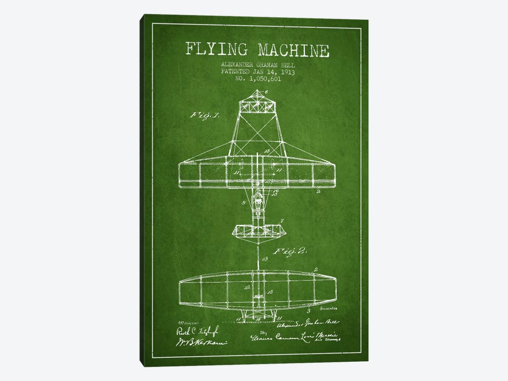 Flying Machine Green Patent Blueprint by Aged Pixel 1-piece Canvas Art Print