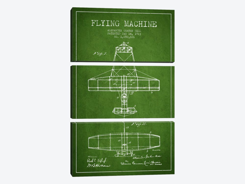 Flying Machine Green Patent Blueprint by Aged Pixel 3-piece Canvas Art Print