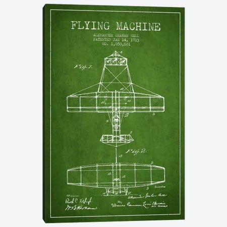 Flying Machine Green Patent Blueprint Canvas Print #ADP467} by Aged Pixel Canvas Wall Art