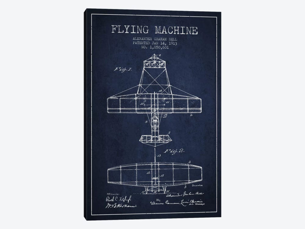 Flying Machine Navy Blue Patent Blueprint by Aged Pixel 1-piece Canvas Wall Art