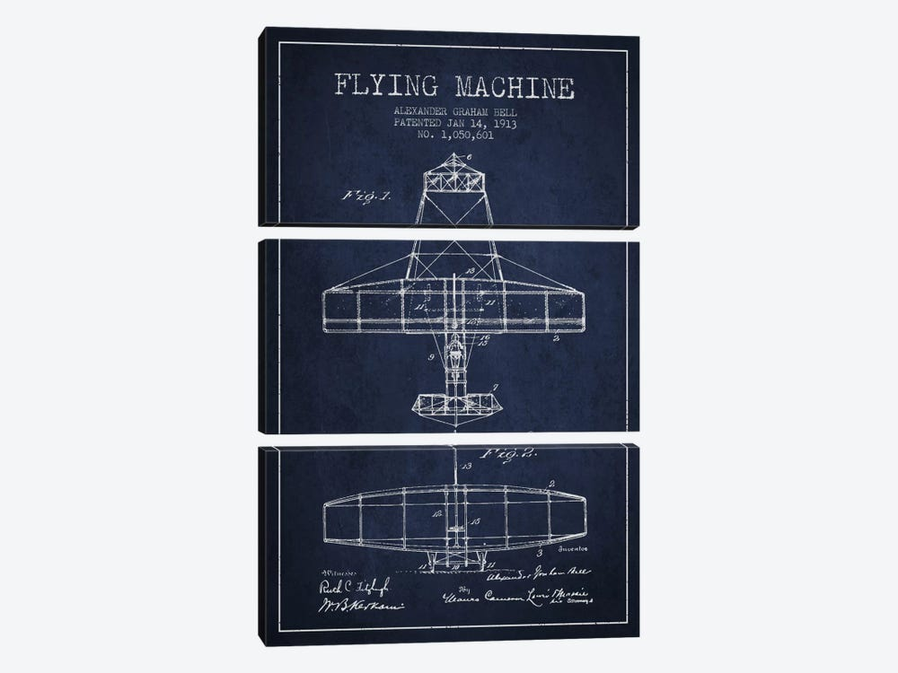 Flying Machine Navy Blue Patent Blueprint by Aged Pixel 3-piece Canvas Wall Art