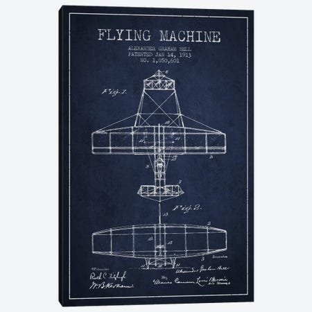 Flying Machine Navy Blue Patent Blueprint Canvas Print #ADP468} by Aged Pixel Art Print