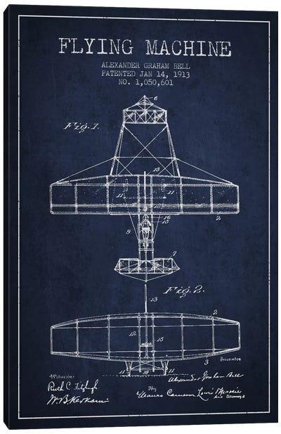 Flying Machine Navy Blue Patent Blueprint Canvas Art Print