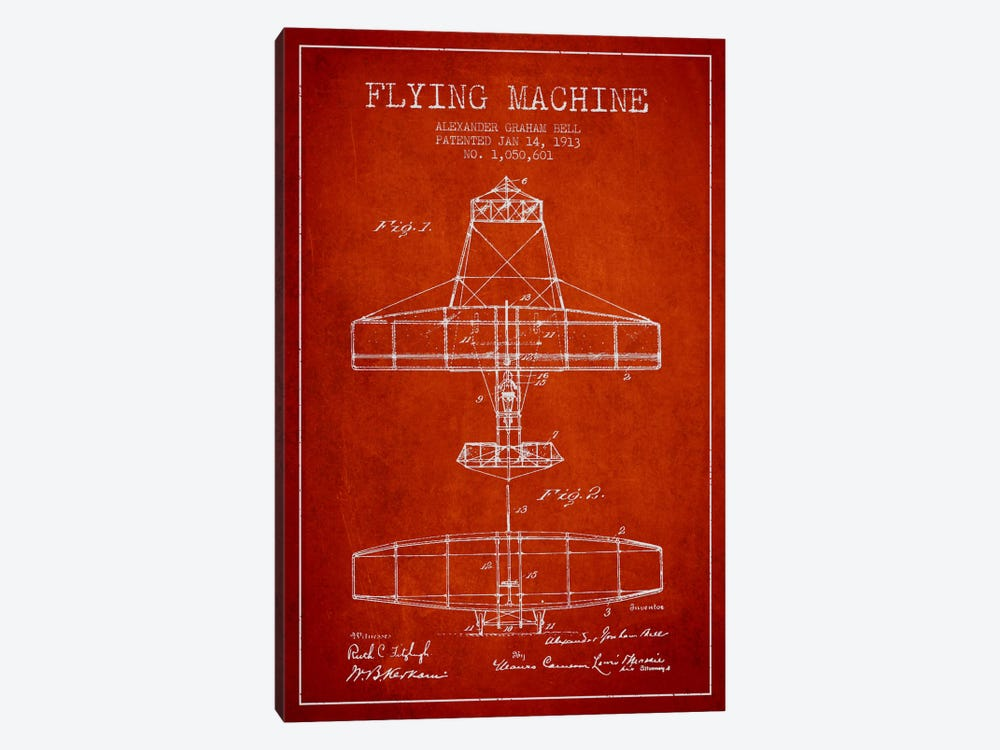 Flying Machine Red Patent Blueprint by Aged Pixel 1-piece Canvas Print