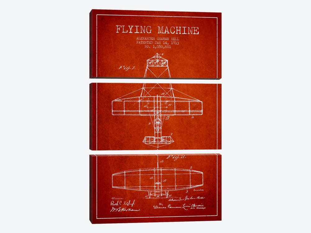 Flying Machine Red Patent Blueprint by Aged Pixel 3-piece Art Print