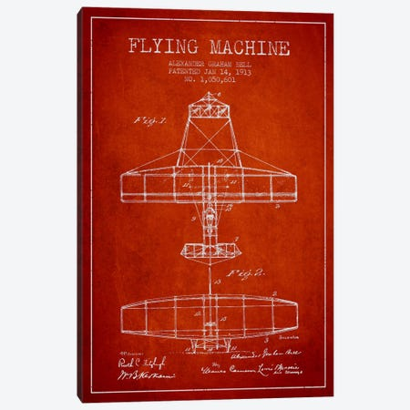 Flying Machine Red Patent Blueprint Canvas Print #ADP469} by Aged Pixel Canvas Art Print