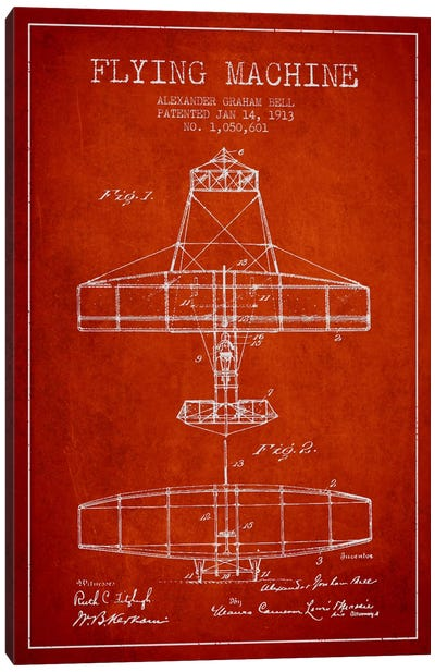 Flying Machine Red Patent Blueprint Canvas Art Print