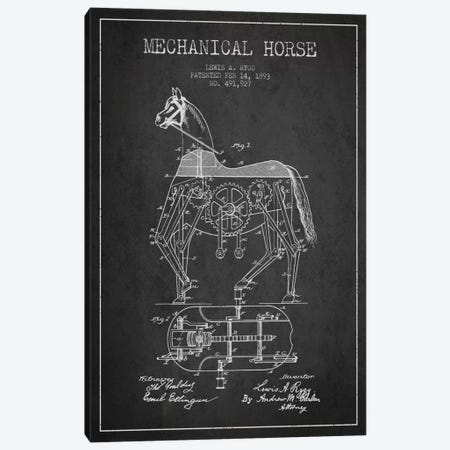 Mechanical Horse Dark Patent Blueprint Canvas Print #ADP46} by Aged Pixel Canvas Art Print