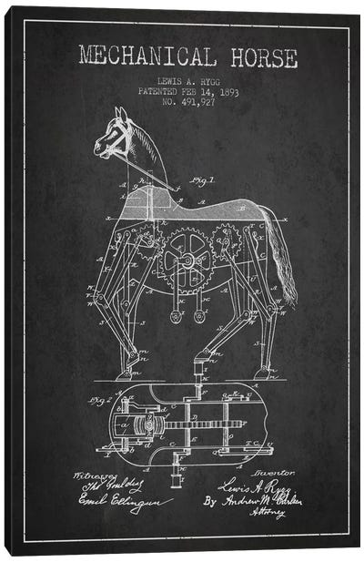 Mechanical Horse Dark Patent Blueprint Canvas Print #ADP46