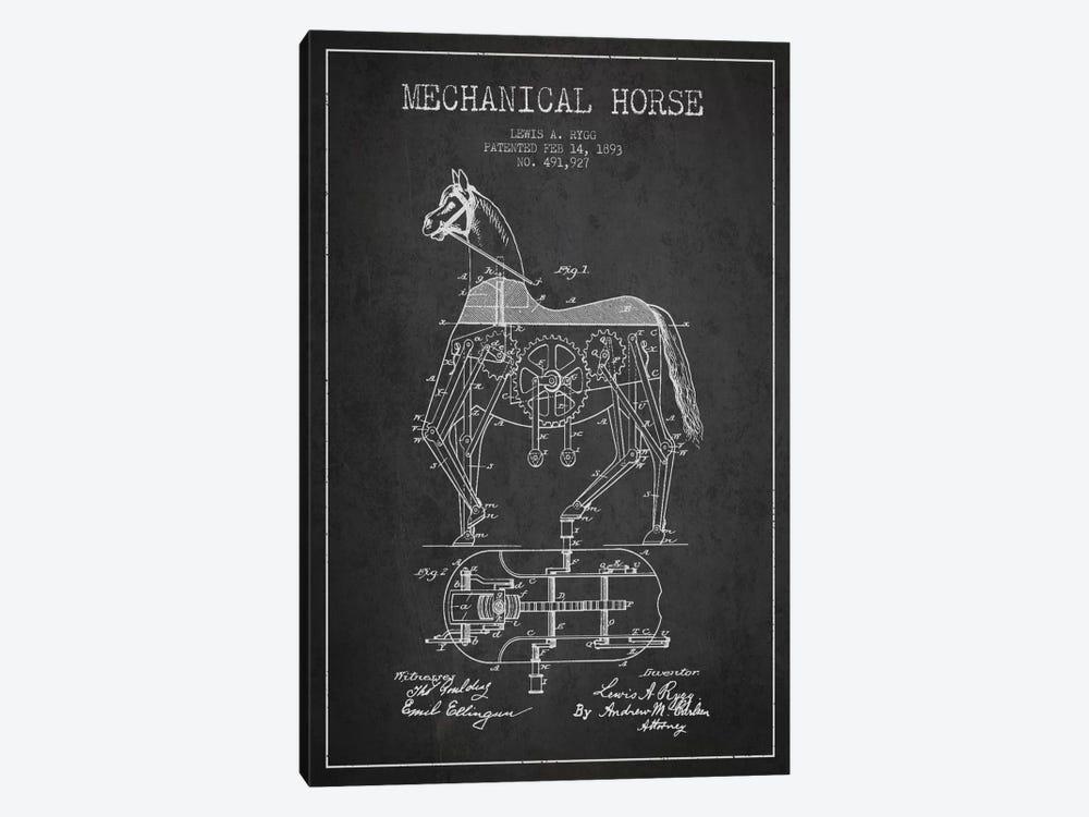 Mechanical Horse Dark Patent Blueprint by Aged Pixel 1-piece Canvas Art Print