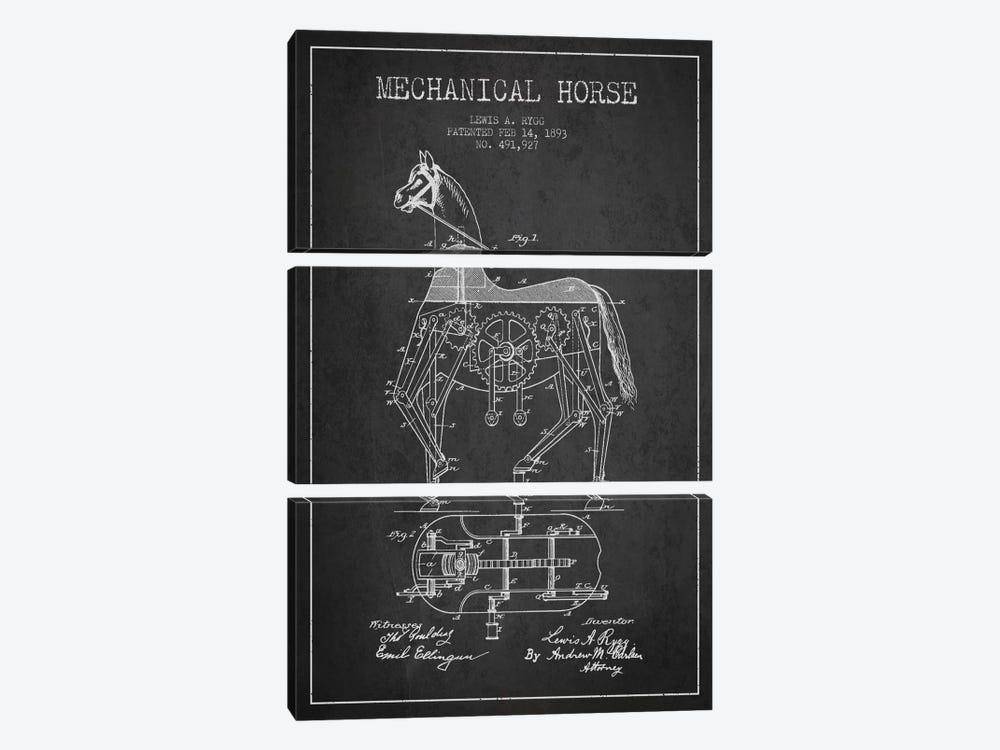 Mechanical Horse Dark Patent Blueprint by Aged Pixel 3-piece Art Print