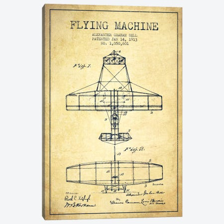 Flying Machine Vintage Patent Blueprint Canvas Print #ADP470} by Aged Pixel Canvas Art