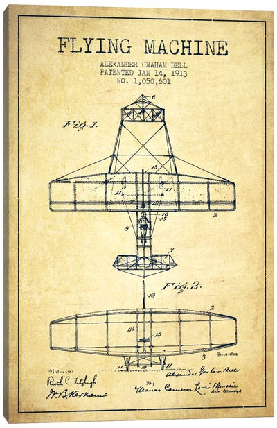 Flying Machine Vintage Patent Blueprint Canvas Art Print