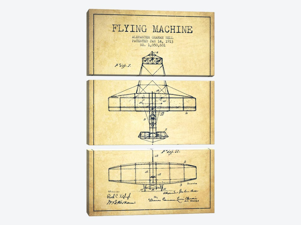 Flying Machine Vintage Patent Blueprint by Aged Pixel 3-piece Canvas Art Print