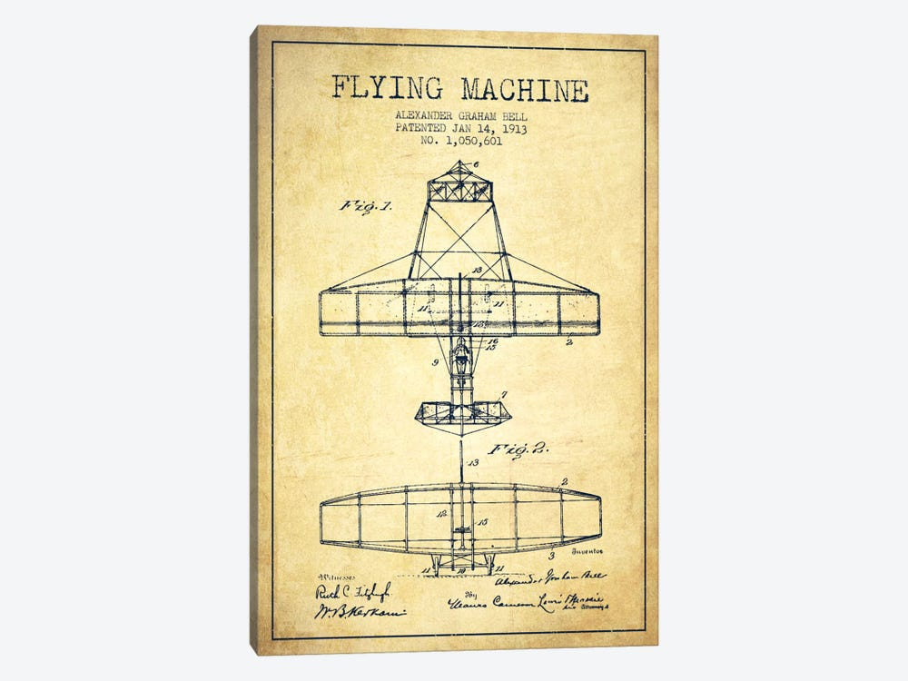 Flying Machine Vintage Patent Blueprint by Aged Pixel 1-piece Canvas Print