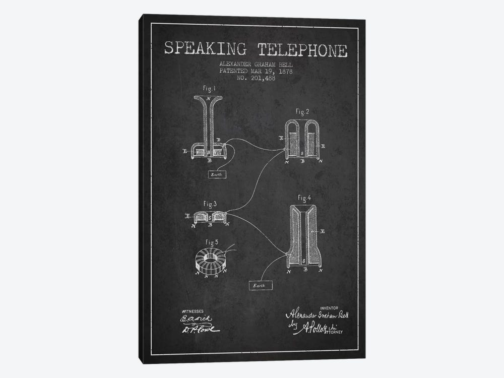 Speaking Telephone Charcoal Patent Blueprint by Aged Pixel 1-piece Canvas Art