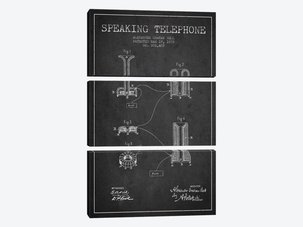 Speaking Telephone Charcoal Patent Blueprint by Aged Pixel 3-piece Canvas Art