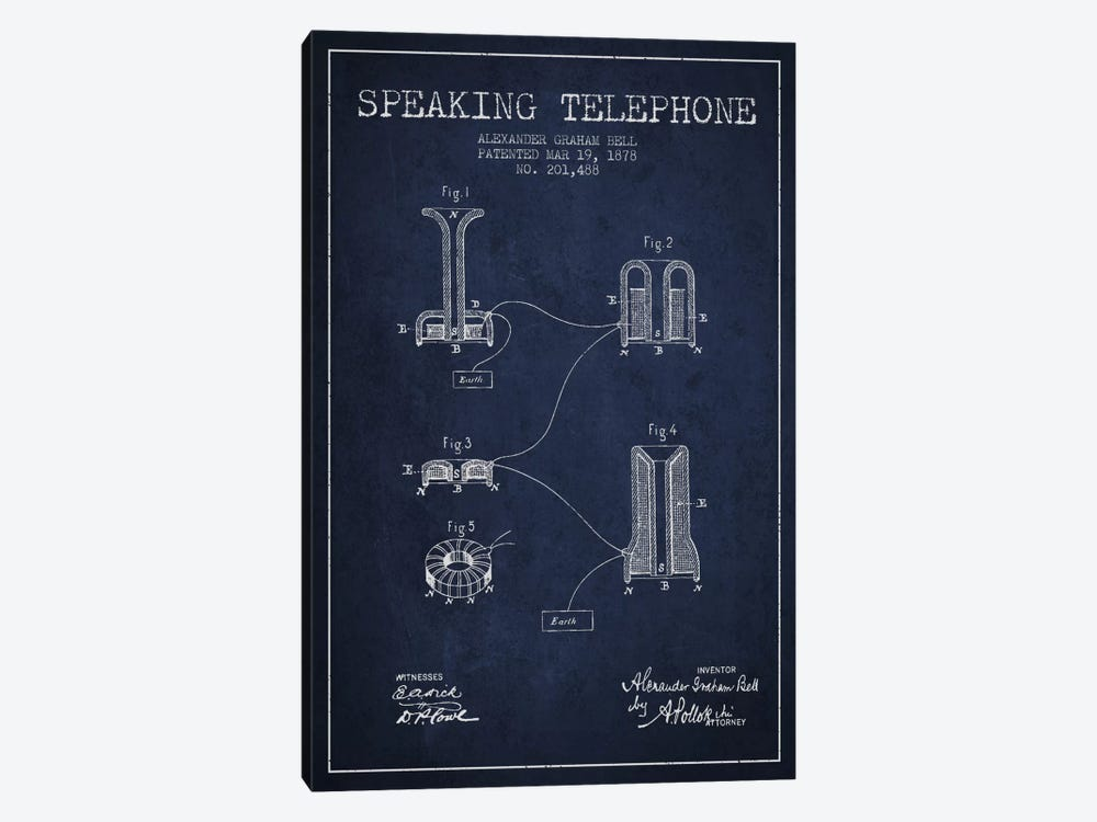 Speaking Telephone Navy Blue Patent Blueprint by Aged Pixel 1-piece Canvas Wall Art