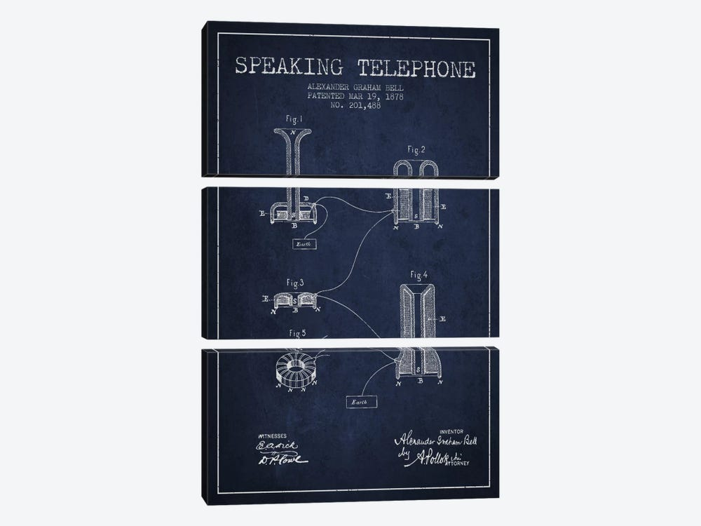 Speaking Telephone Navy Blue Patent Blueprint by Aged Pixel 3-piece Canvas Wall Art