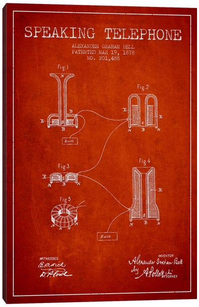 Speaking Telephone Red Patent Blueprint Canvas Art Print