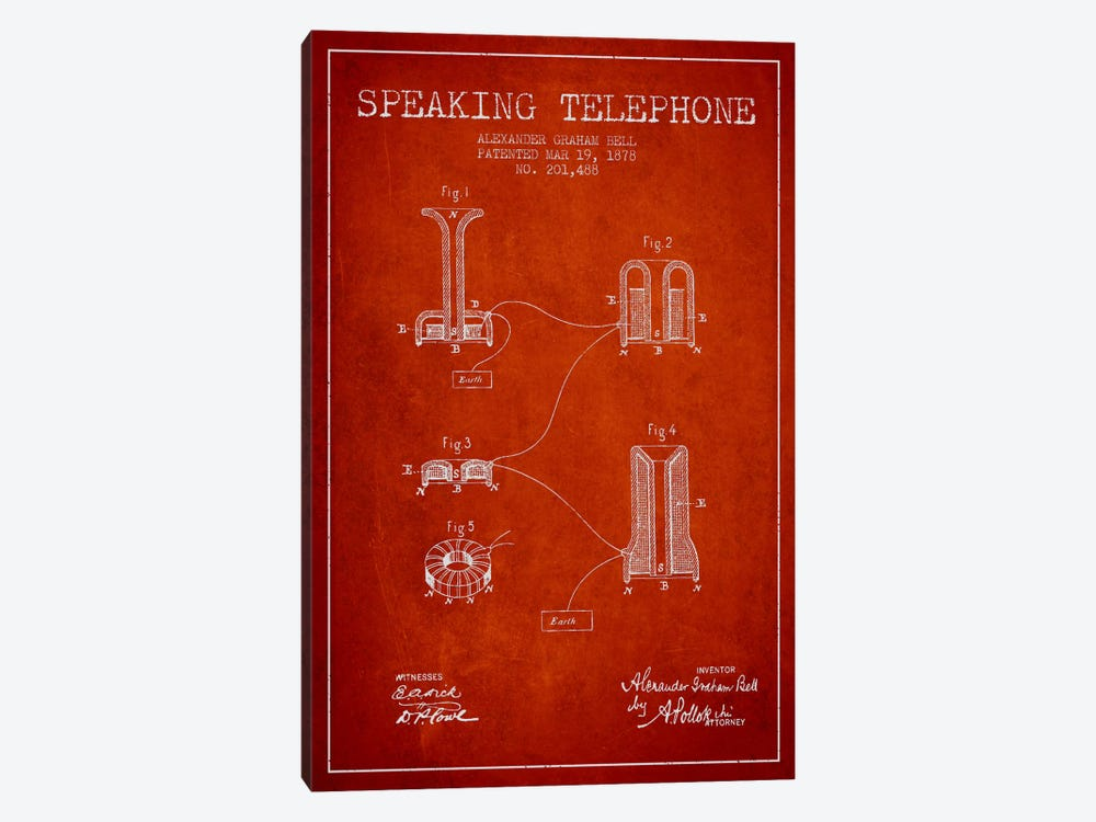 Speaking Telephone Red Patent Blueprint by Aged Pixel 1-piece Canvas Print