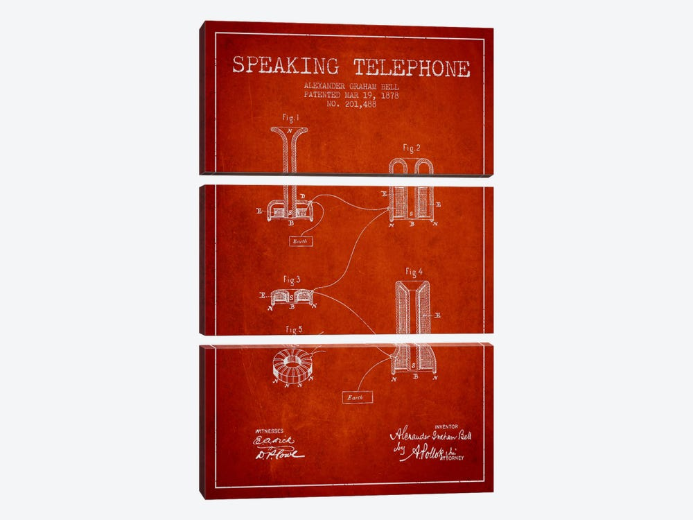 Speaking Telephone Red Patent Blueprint by Aged Pixel 3-piece Canvas Print