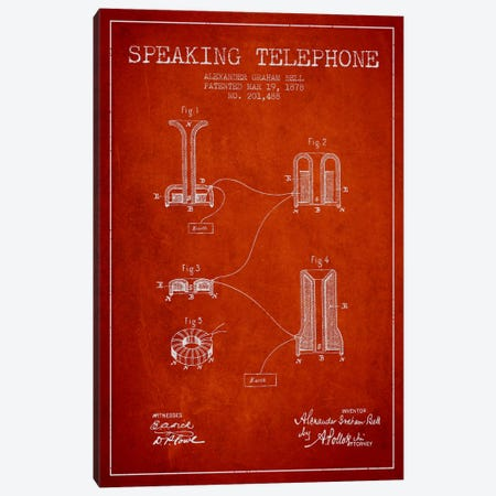 Speaking Telephone Red Patent Blueprint Canvas Print #ADP474} by Aged Pixel Canvas Art Print