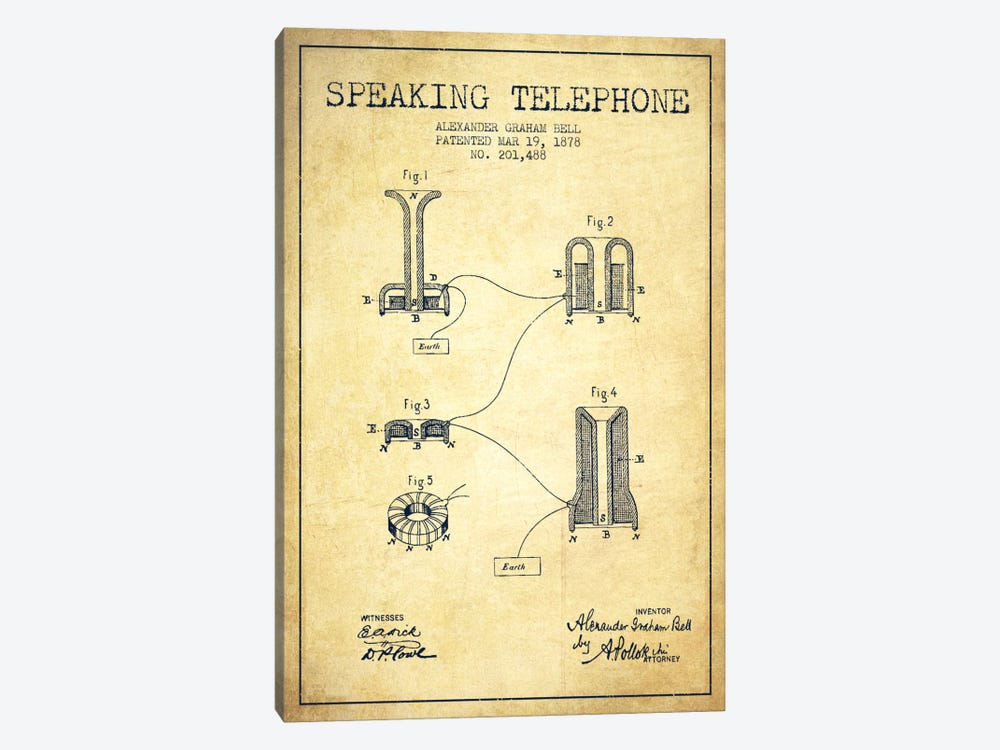 Speaking Telephone Vintage Patent Blueprint by Aged Pixel 1-piece Canvas Artwork