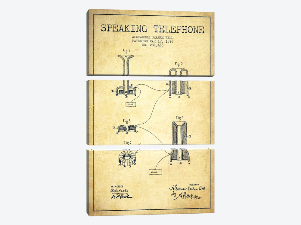Speaking Telephone Vintage Patent Blueprint by Aged Pixel 3-piece Canvas Artwork